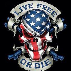 Live Free or Die Skull Decal - Rebel Highway Skull Tattoos, Body Art Tattoos, Tatoos, Badges, Totenkopf Tattoo, American Flag Eagle, Live Free Or Die, Skull Pictures, Skull Artwork
