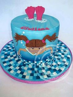 ... cake on Pinterest  Swimming pool cakes, Pool party cakes and Beach