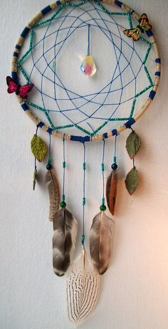 BUTTERFLY GARDEN Dream Catcher $36.00 FEELFREEART on etsy.com Mobiles, Los Dreamcatchers, Medicine Wheel, Arts And Crafts, Diy Crafts, Blue Dream, Nature Crafts, Dream Catchers, Suncatchers