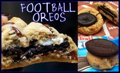 Hugs & CookiesXOXO: FOOTBALL OREOS STUFFED IN CHOCOLATE CHIP COOKIES!!!!!