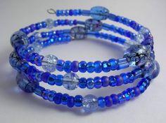 Blue multi colored memory wire bracelet
