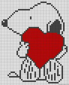 Snoopy love perler bead pattern used for afghan Cross Stitching, Cross Stitch Embroidery, Cross Stitch Patterns, Pixel Crochet, Crochet Chart, Loom Patterns, Beading Patterns, Graph Paper Art, Pixel Pattern