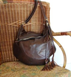 Your place to buy and sell all things handmade Liberty Of London, Leather Tassel, Medium Bags, Hobo Bag, Printed Cotton, Brown Leather, Shoulder Strap, Zip, Pretty