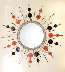 Recycled Oil Drum Sunburst Mirrors - Recycled Art Handmade in Africa - Swahili Modern - 1 Mirror With Hooks, African Home Decor, Oil Drum, Jute Crafts, Sunburst Mirror, Black Mirror, Recycled Art, A 17, African Art