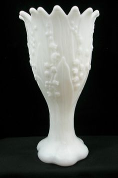 Lily of the Valley Milk Glass Vase by QuinsippiMercantile on Etsy