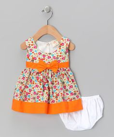 Take a look at this Orange Floral Bow Dress & Diaper Cover - Infant by the Mini Sissy on #zulily today!