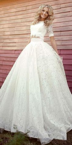 Charming Lace & Satin Jewel Neckline Ball Gown Two-piece Wedding Dresses