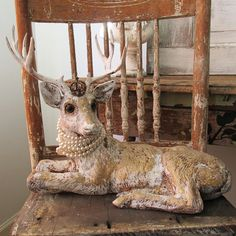 Painted Buck figurine w/ crown French Nordic white and gold deer figure w/ antlers statue embellished in earls home decor anita spero design
