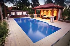 Swimming pool designs by sapphire pools Pool Paving, Swimming Pool Landscaping, Small Swimming Pools, Swimming Pool Designs, Landscaping Ideas, Paving Ideas, Fiberglass Pool Cost, Fiberglass Swimming Pools, Cabana