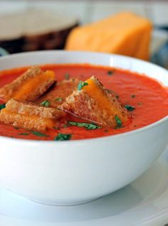 Creamy Tomato Soup with Grilled Cheese Croutons.
