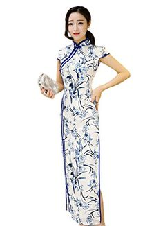 c276981ff Fasbys Elegant Cheongsam Ladies Silk Velvet Cheong-sam Top Chinese Qipao  Dress Robe (M) at Amazon Women's Clothing store:
