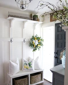 Take a peek at this entryway styled by - love the addition of our Chicken Feeder Plate Rack up on her shelf! Modern Bedroom Design, Modern Room, Entryway Decor, Entryway Hall Tree Bench, Foyer, Entryway Closet, Entryway Ideas, Entry Hall, Built In Bench