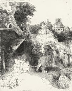 Rembrandt Van Rijn (1606-1669) Saint Jerome Reading In An Italian Landscape 1653 (26 x 21 cm)