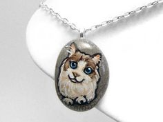 Ragdoll Cat Necklace Pet Memorial Pendant Hand by rainbowofcrazy