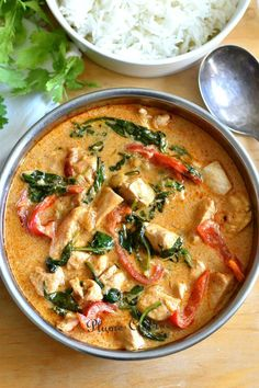 Poulet-curry-thaï Detox Recipes, Thai Recipes, Asian Recipes, Chicken Recipes, Healthy Recipes, Batch Cooking, Cooking Recipes, Pollo Thai, Coco Curry