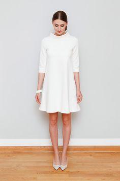 Knielange Kleider - A-Linienkleid Mary cremeweiß - ein Designerstück von Cordelia-Baethge bei DaWanda