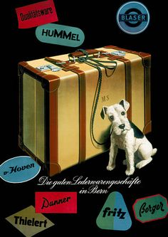 Little Dog with Suitcase Luggage Vintage Poster Print
