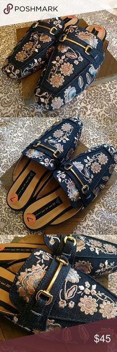 Steve Madden mules New without the box.  Really great dark denim with embroidery. ********** Steve Madden Shoes Mules & Clogs