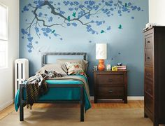 Description:  Create an incredible nursery wall display with this Romantic Cherry blossom tree wall decal. Our wall decals are ideal for offices,