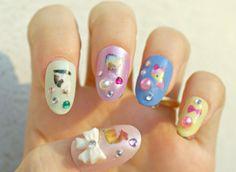 3D nails fake nails pastel fairy kei kawaii cats animal by Aya1gou, $20.00