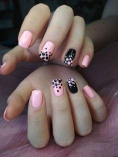 Nail Art Designs Videos, Cute Nail Art Designs, Acrylic Nail Designs, Acrylic Nails, Trendy Nail Art, Stylish Nails, Toe Nails, Pink Nails, Polka Dot Nails