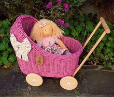 Dolls Prams, Bassinet, Wicker, Little Girls, Wood, Handmade Gifts, Etsy, Vintage, Home Decor