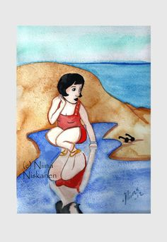 Day at the beach  ACEO Print Vintage inspired art  by fairychamber