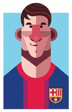 MESSI.El autor de estos retratos es Daniel Nyari, un ilustrador nacido en Rumania, criado en Austria y actualmente residente en la ciudad de Nueva York. Se pueden ver grandes íconos del fútbol mundial como Messi, Maradona, Totti, Ronaldinho, entre otros.