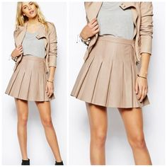 Nude leather skater skirt Vegan leather skirt. Nude color with pleats. NEW without tags, never been worn. Super flattering! Skirts