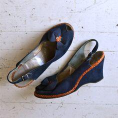 vintage 40s shoes / 1940s shoes / Aligatoro wedges