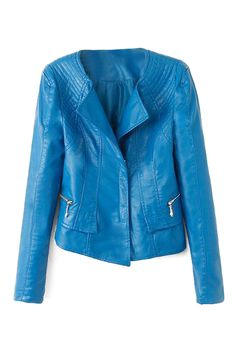 ROMWE | Zippered Sheer Blue PU Jacket, The Latest Street Fashion