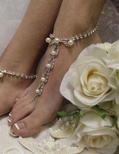 Victorian Trading Co Rhinestone Pearl Bead Barefoot Sandals Beach Wedding 6101 #VictorianTrading #AnkleStrap #Beach