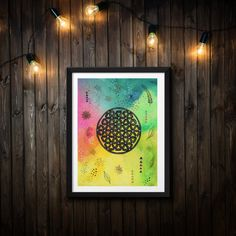Original art in acryl Original Artwork, Original Paintings, Flower Of Life, Boho, Sacred Geometry, Colorful Flowers, Hand Painted, Etsy, Wall Art