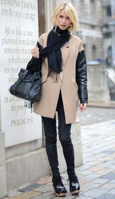 Zara coat & Mulberry bag