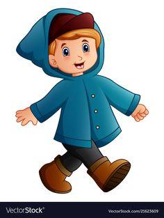 Cartoon boy in blue winter jacket walking vector image on VectorStock Adult Coloring Book Pages, Coloring Books, Walking Cartoon, Body Parts Preschool, Kids Graphics, Powerpoint Background Design, Cartoon Boy, School Decorations, Drawing For Kids