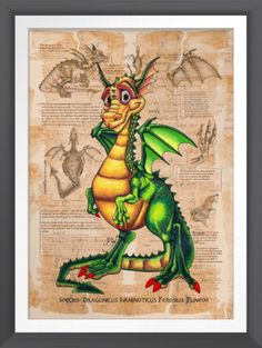 Dragonicus in his original illustrated glory :) The original art piece I did with pencils and inks, and coloured him using Pantone Markers. He is now available for print on matte posters and ready to grace the walls of children worldwide :)  #wallart #childrensrooms #babyrooms #giftideas #dragon #illustration #poster #print