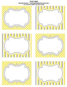free printable  yellow & gray food labels  from Cupcake Express