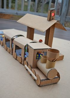 ikat bag: The Lights Project - Trainville - cardboard train, tunnel and station. All the details are so cute!