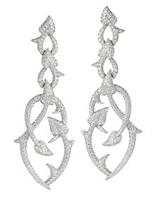 Stephen Webster 18-carat White Gold and White Diamond Poison Ivy Earrings.