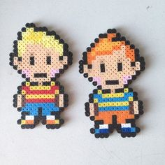 Earthbound 2 (Lucas and Klaus from Mother 3) perler beads  by jyphlosion