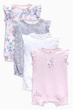 Pink/White Floral Short Leg Rompers Four Pack (0mths-2yrs)