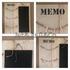 ✰✰ MEMOBORD ✰✰ Steigerhout met 'waslijntjes' & knijpertjes en een schoolbordje. Door Jet&Juul&Co