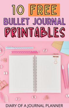 Get 10+ free bullet journal printables here! #bulletjournal #printables #bujo Bullet Journal Bookshelf, Bullet Journal Dot Grid, Bullet Journal Printables, Journal Template, Bullet Journal For Beginners, Templates Printable Free, Bullet Journal Inspiration, Book Journal, Printable Planner