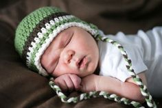 Baby boys crocheted earflap hat  green brown by MeandMadeline, $20.00