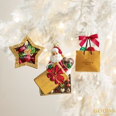 Make your tree happy by adorning it with our holiday ornaments. Your tree thanks you #GODIVA