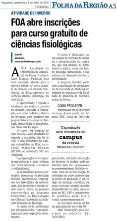 FOA abre inscrições para curso gratuito de ciências fisiológicas. Fonte: Folha da Região