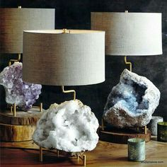 Roost Mineral Stand Lamps are a very elegant way to showcase the rich mineral specimens. The brass lamp base is telescoping and adjustable to fit a variety of mineral sizes. Home Design, Hm Deco, Decoration Inspiration, Decor Ideas, Crystal Decor, Crystal Lamps, Luminaire Design, Brass Lamp, Home Decor Online