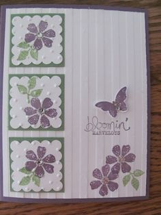 handmade card ... luv the inchies with scalloped edges, dot embossing foler .. and sweet purple flowers ... Bloomin' Marvelous ... Stampin' Up!