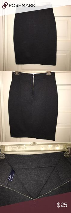 Grey knit pencil skirt Soft stretchy dark grey pencil skirt from the Gap. Never worn. Zipper closure on the back. GAP Skirts Pencil