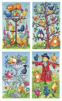 Set of 4 cross stitch kits - Bird Bath, Bird Table, Bird Watching & Scarecrow - designed by Heritage Crafts.